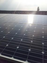 Sun shining down on the Solar Modules