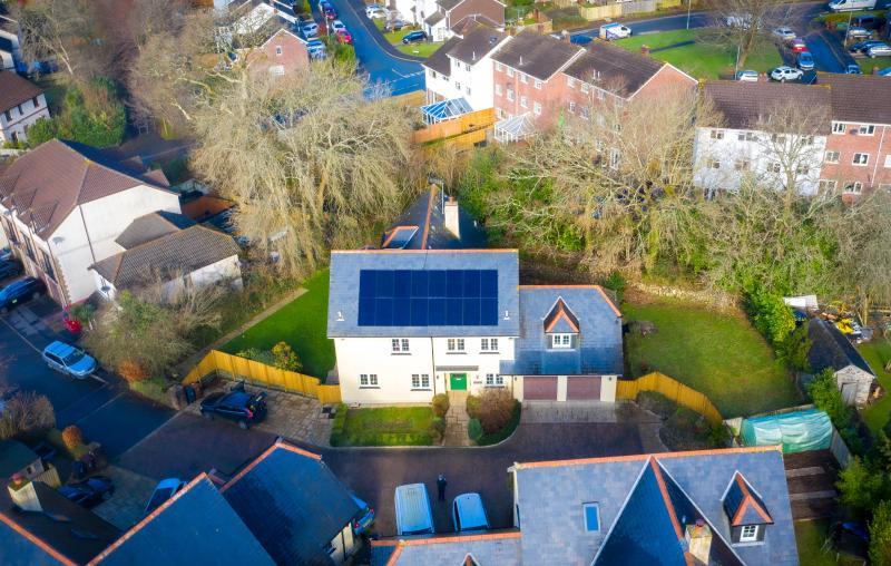 Arial shot of solar installation
