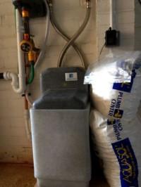Water softener installed in a garage