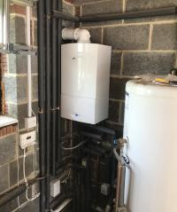 Worcester Bosch system boiler and unvented hot water cylinder.