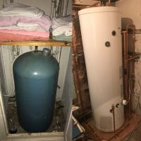 Before and after photo of a Worcester 250ltr cylinder
