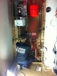 Recent installation - engineer at work