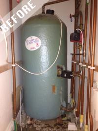 Open vented hot water cylinder removed and combination boiler installed.