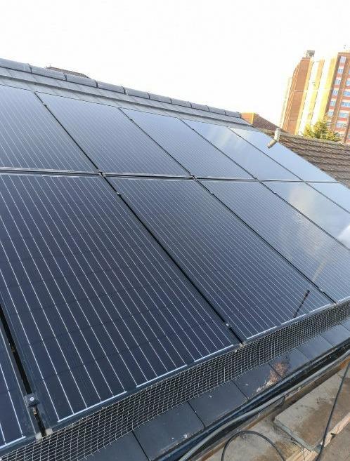 Black 390w Solar PV panels and Black Bird Guard