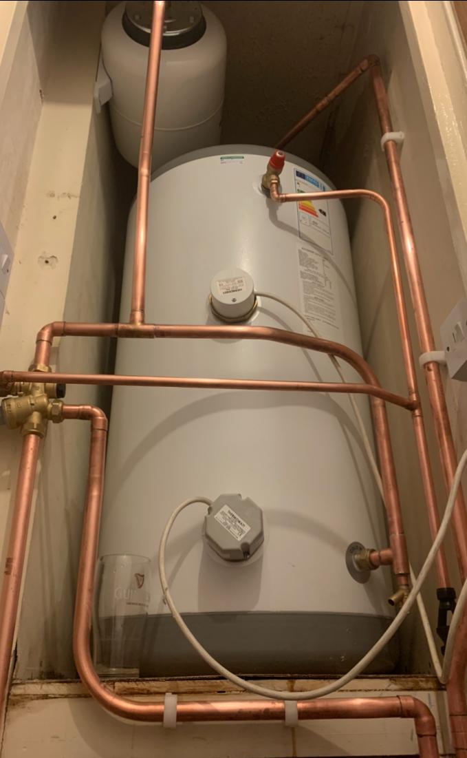 Unvented hot water cylinder install
