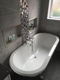 New bathroom with roll top bath