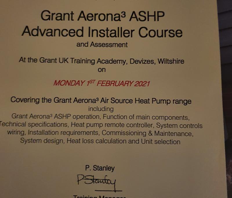 Certificate for Grant Air Source heat Pump