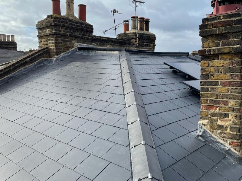 New slate roof in london prior to panelling