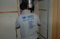 Gas Safe engineer from H2 Property Services on new boiler installation